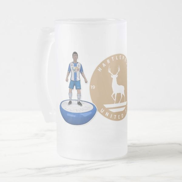 Hartlepool United 2017/18 - Gold Logo Frosted Glass Beer Mug Custom office supplies #business #logo #branding