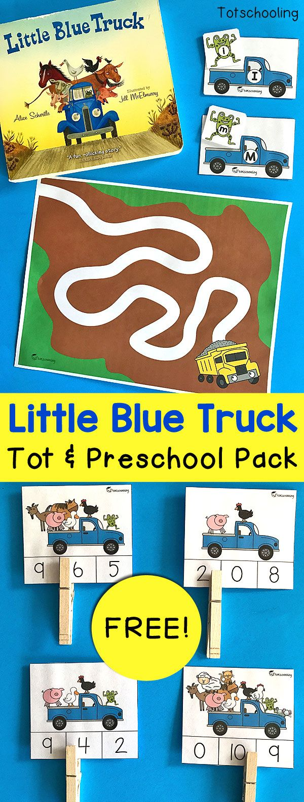 FREE Little Blue Truck printable learning pack for toddlers and preschoolers to go along with the popular board book. Practice math and literacy skills with alphabet matching activity, counting clip cards, prewriting sheets and coloring pages!