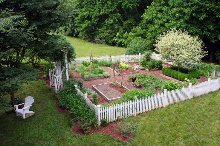 Garden with picket fence: White Picket Fences, Gardens Idea, Vegetables Gardens, Potager Gardens, Gardens Layout, Bumble Bees, Veggies Gardens, Backyard Gardens, Dream Gardens