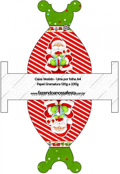 Caixa Vestido Natal Vermelho e Verde