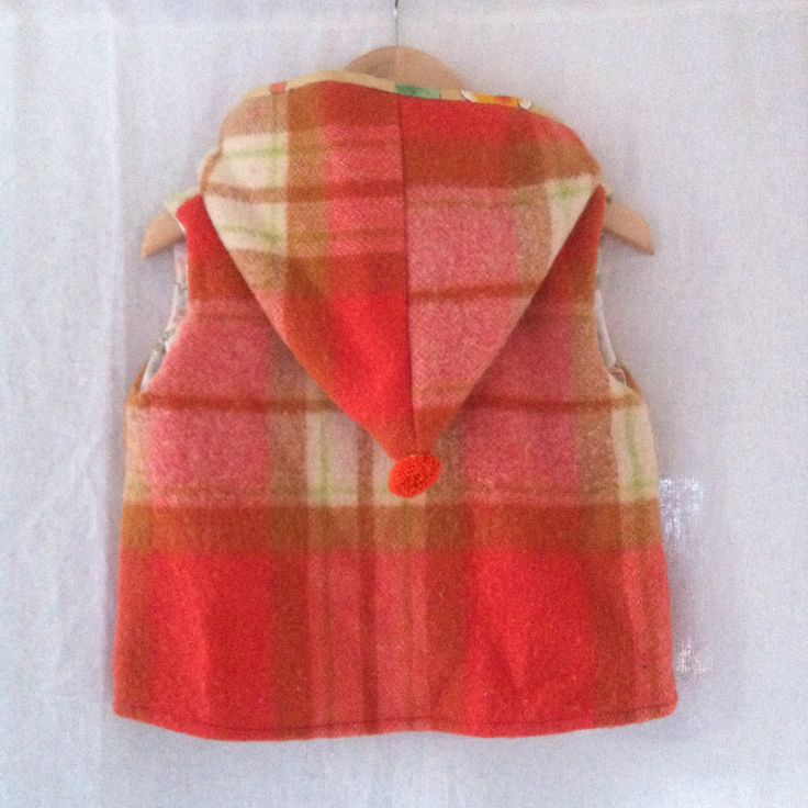 Hunter vest in orange marmalade check size 1 by smallforestshop on Etsy