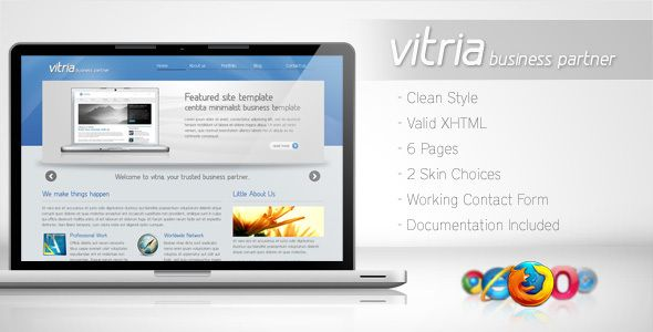 Vitria - Clean Business Template 2   http://themeforest.net/item/vitria-clean-business-template-2/79437?ref=damiamio       Vitria HTML Template, a template with web 2.0 style and clean looks. It's suitable for your company/business website or portfolio website. Vitria HTML Template comes with 2 choice skin template.   Live Demo:      Features:   Valid XHTML  2 in 1 Skin Template  Clean & Web 2.0 style  Fully working contact form    What you get:   6 html pages  6 layered PSD Files  Help…