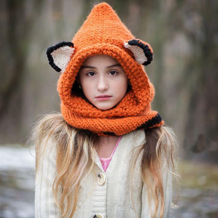 Купить товарЛиса шляпа про лиса балахон про лиса капотом животных с капюшоном шарф   крючком толстовка   коренастый шлем вязания крючком   животных шарф девочка шляпа в категории Шапки и кепкина AliExpress.