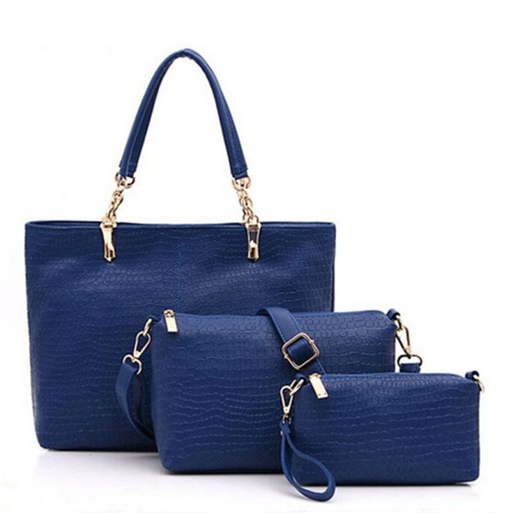 2017 Women Office Bag Girl Messenger Bag 3Bags Per Set Bolsa Feminina Lady Handbag Casual Royal Blue Color Women Bag D12-76