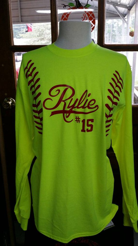 These are our Adult Unisex Softball LONG SLEEVE T that we have added red GLITTER or REGULAR vinyl to. In the center we can add a large monogram, team name, players name and/or number.  Some pictures show other items that we have available in our Etsy store, shop around there as we do combine shipping charges. When ordering please give us your name/team name or monogram, Your monogram we need in monogram order. first LAST and middle Example gHe ot your name in the comment section; TH...