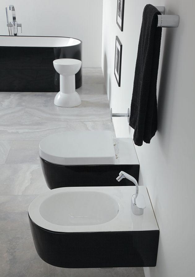 WC & Bidet in schwarz/weiß von Flaminia aus der Serie Roll Bicolor