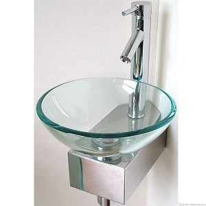 Glass corner wash basin wall mounted a corner mounting glass wash basin tall mixer tap included - Glass cloakroom basin ...