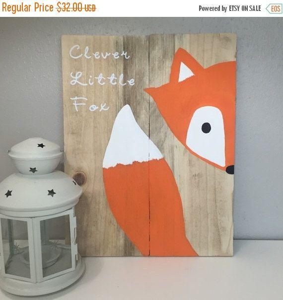 Sur vente Clever little fox signe, fox signe de pépinière, décor renard, palette de renard, animal boisé, pépinières forestières, décor de pépinière, cadeau de douche de bébé