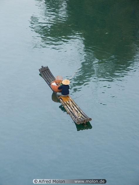 02 Fisherman on bamboo boat,  Li river, Guilin, China
