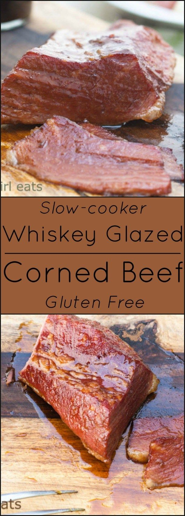 Triple Whiskey Glazed Corned Beef. Slow-cooker and gluten free.