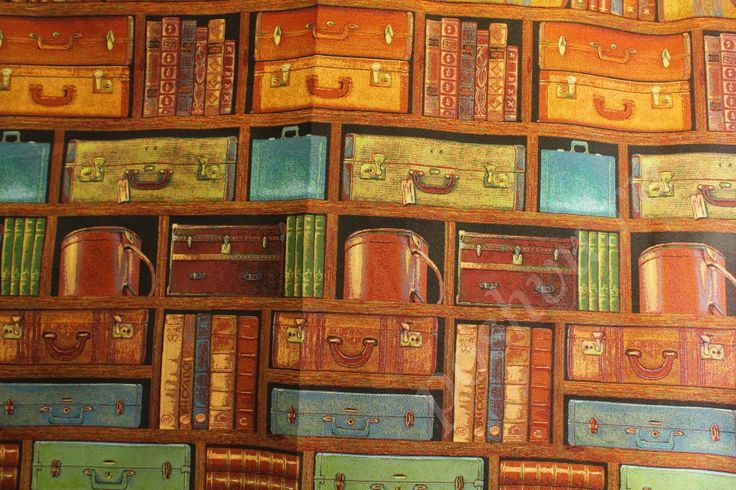 Гобеленовая ткань с изображением чемоданов и книг 860/м шир.160