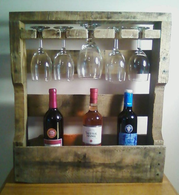 Aged Wooden Wine Rack 5 glass holder by RobsRusticCreations, $45.00
