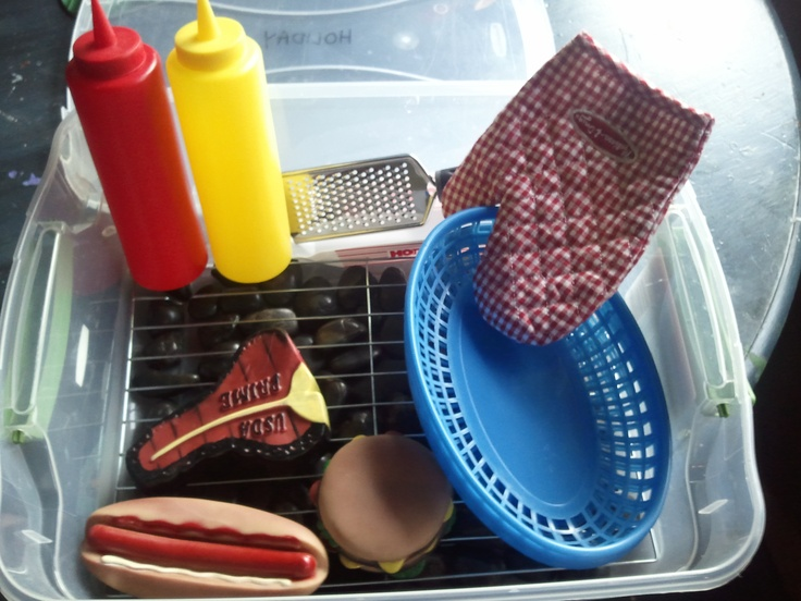 From lighrningbuglit.com: dramatic play tote barbecue.  Great for taking outdoors, too!