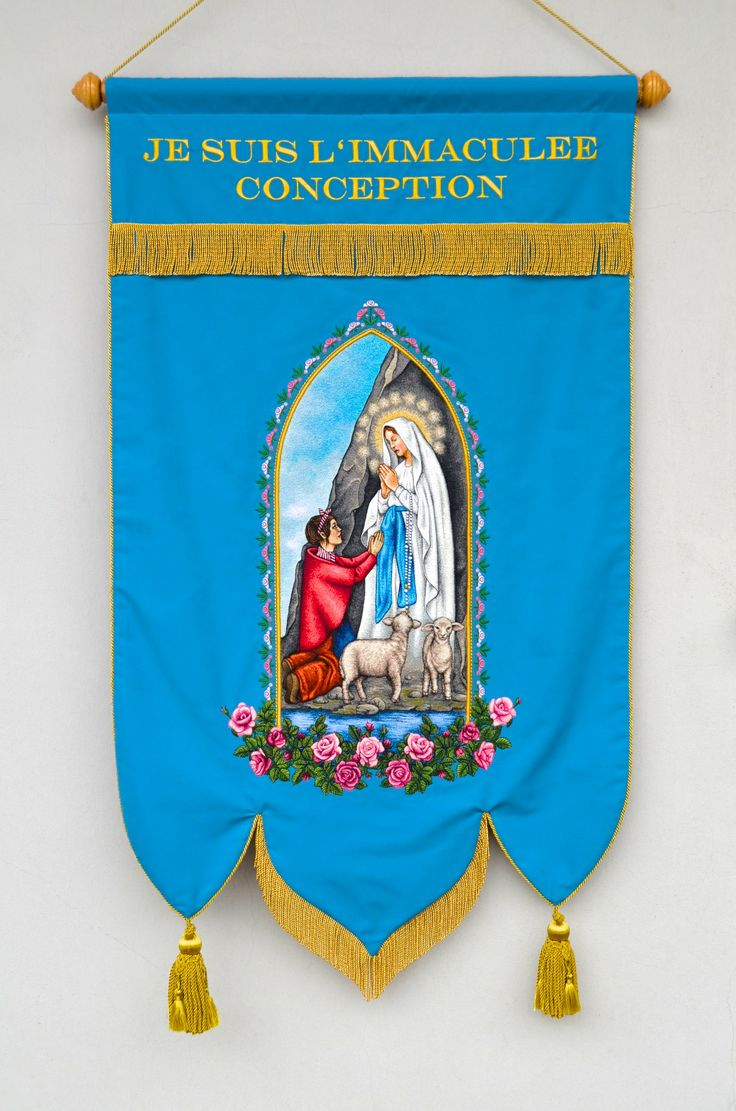 Embroidered religious flags and banners