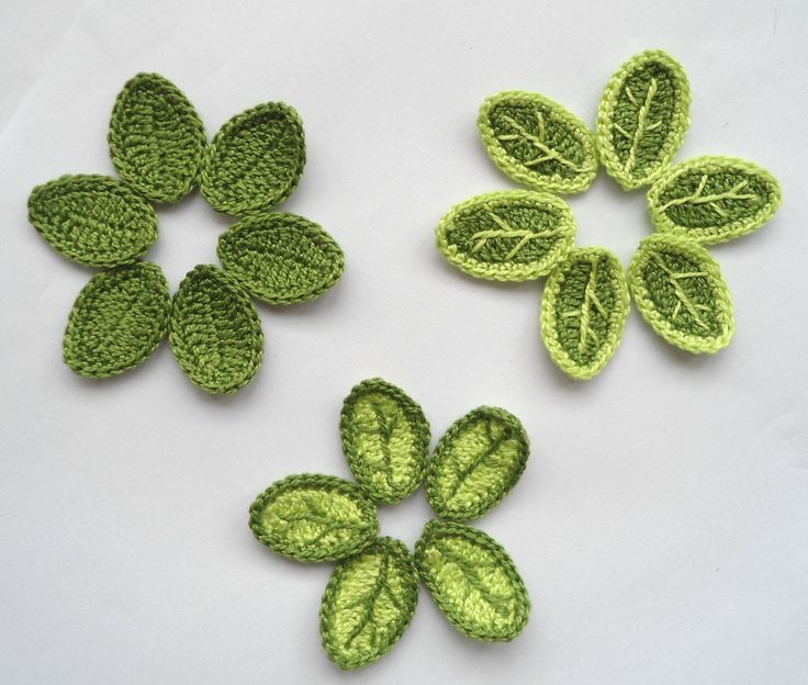 Crochet Applique Leaves With Veins by Clew in Hand via Etsy.  https://www.etsy.com/shop/Clewinhand