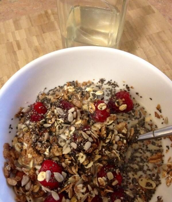 What's for #Breakfast? Unsweetnd Museli, Ezekiel cereal, dates, #chia, sunflower seeds, almond mlk & berries