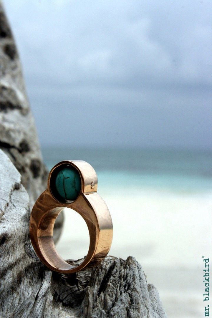 """Copper ring """"Eternity"""" with turquoise"""