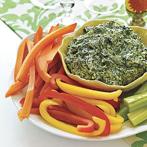 Spinach Dip with Crudités | MyRecipes.com: Recipe Spinachdip, Brunch Recipe, Spinach Dips, Easy Potlucks Recipe, Super Bowls, Food Blog, Pinwheels Appetizers, Parties Recipe, Dips Appetizers