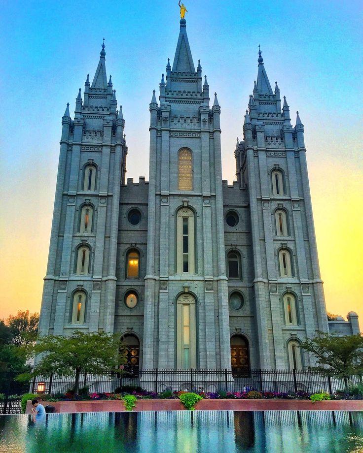 Salt Lake City LDS Temple at sunset Salt lake city utah