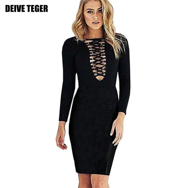 DEIVE TEGER newest spring dress Vestido bandage woman dress cross hollow out long sleeve black dress Club dress  #dress #instalike #streetstyle #amazing #bespecial #happiness #summer #girls #happy #hautecouture