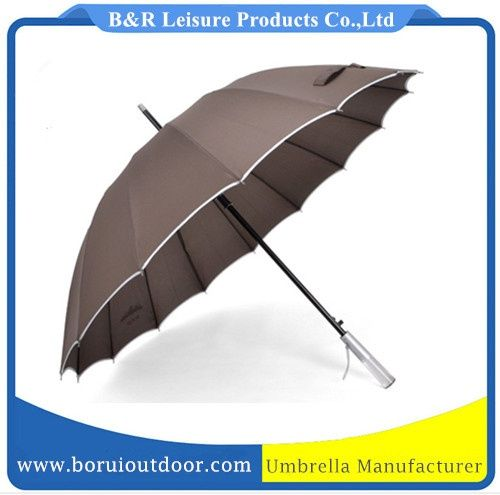 110cm men umbrella with 16 panels, brown pongee with edge, straight handle auto open_best men umbrellas wholesale_umbrellas supplier