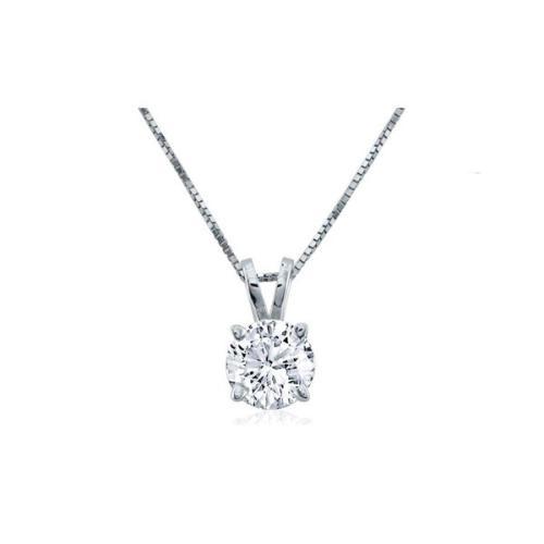 Round Cut Diamond Solitaire Pendant Necklace