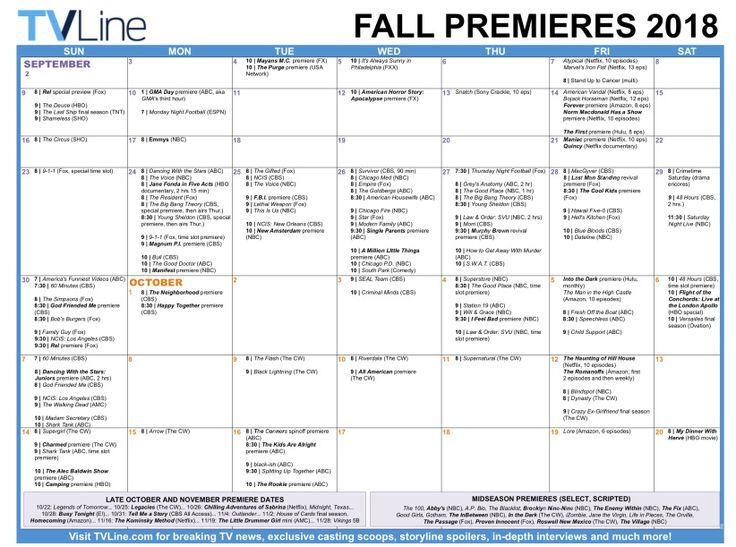 Fall tv premiere dates 2018 schedule of season series