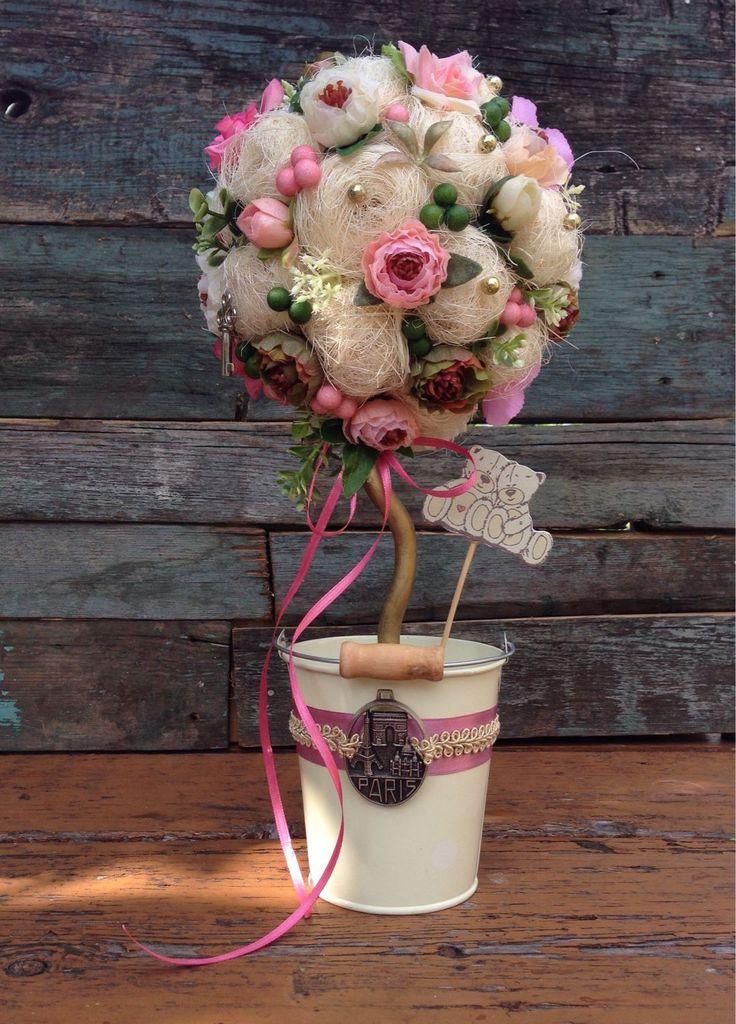 Купить топиарий с цветами (дерево счастья) - топиарий, Дерево счастья, подарок на любой случай
