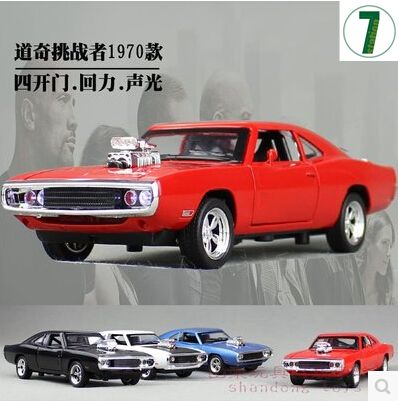 1970 Dodge Chargers R/T Fast & Furious 1:32 Car model Kids Toy Diecast pull back light sound Mustang Challenger  sports car gift