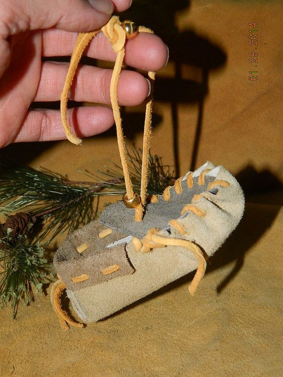 Hand Crafted Leather Mini Hanging Accent Ornament Moccasin Car Mirror Decor Holiday Decor Home Decor