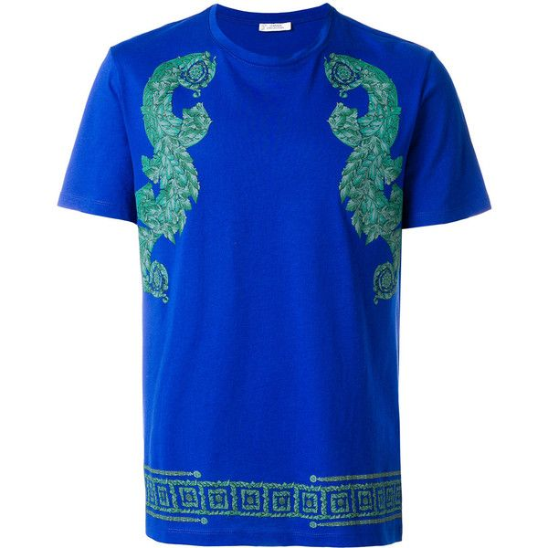 Versace Collection baroque print T-shirt (735 RON) ❤ liked on Polyvore featuring men's fashion, men's clothing, men's shirts, men's t-shirts, blue, versace mens t shirt, mens blue shirt, versace mens shirt, mens baroque shirt and mens blue t shirt