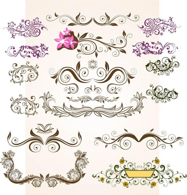 Floral Vintage Flowers Vector  Ornamental Design Elements Digital Download PNG EPS PSD Transparent Background Border Clipart Clip Art by SlavGraphics on Etsy