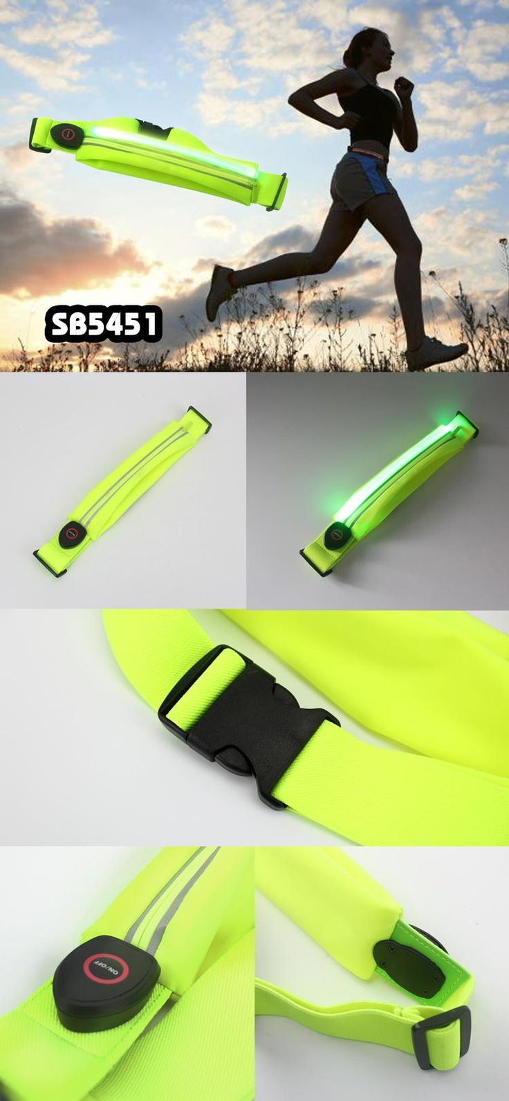 Rechargable Led Sport Waist Bag Specifications: material: lycra+elastic cloth size: 22*4cm colors: green/fushcia/light green safety sporting waist bag, large capacity for phones/changes/keys etc. led is rechargable logo printing is available www.ideagroupigm.com