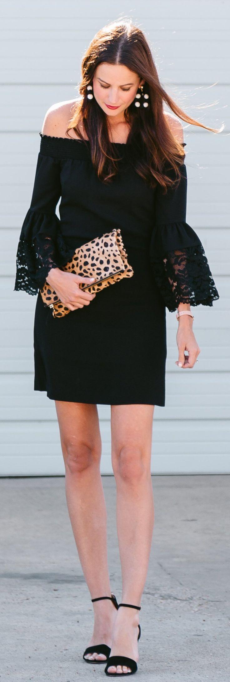 Black Open Shoulder Dress & Leopard Clutch & Black Sandals