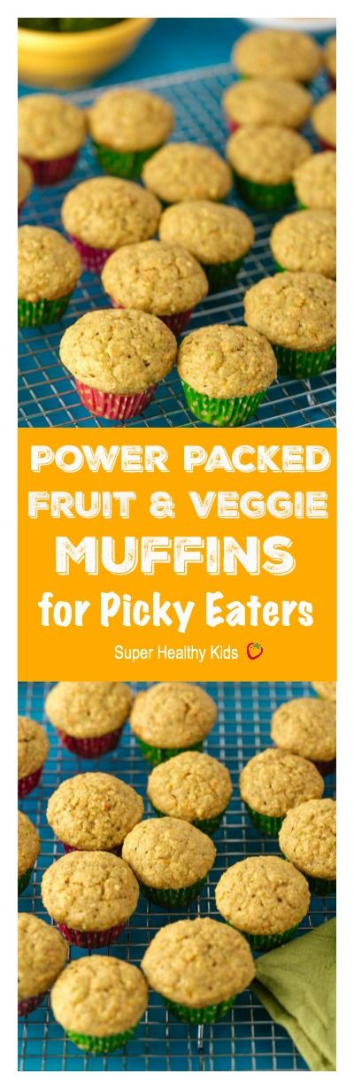 Power Packed Fruit and Veggie Muffins for Picky Eaters. Our most popular muffin because it has veggies inside! We have these ready to go on school mornings. http://www.superhealthykids.com/power-packed-fruit-and-veggie-muffin-for-picky-eaters/