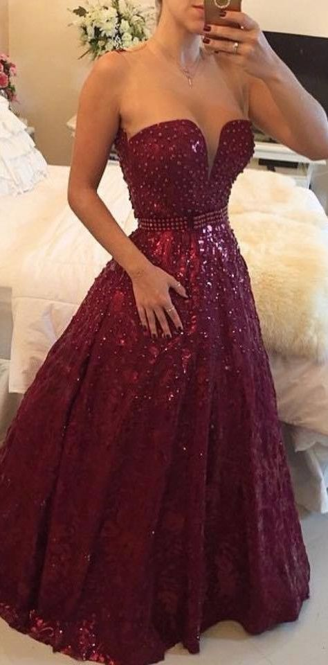 Gorgeous Sweetheart Beadings A-Line Sleeveless Prom Dress Shinning Floor Length Evening Gowns,Prom Dress long I'd love the dress if it wasn't so low cut