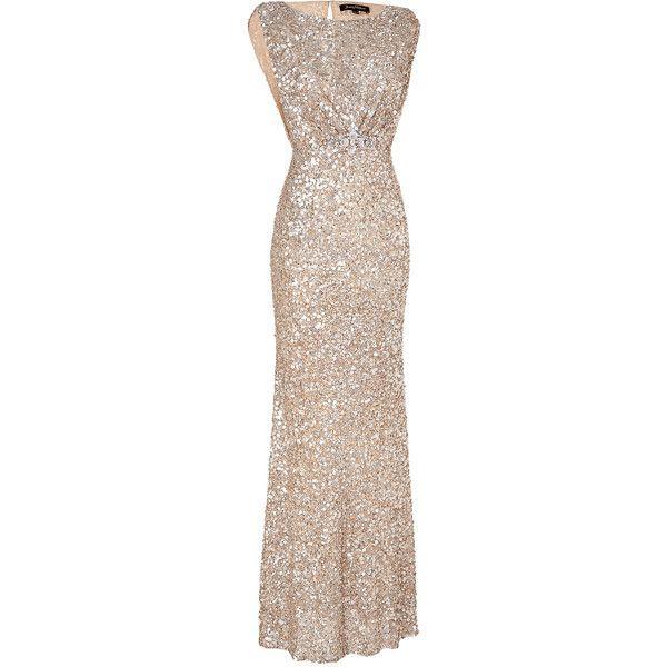 JENNY PACKHAM Soft Gold Sleeveless Sequin Dress - Polyvore