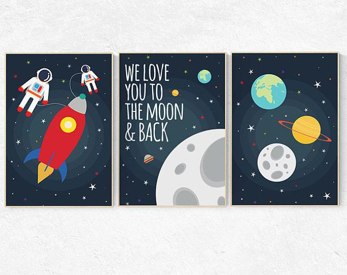 We love you to the moon and back space nursery decor for Outer space decor for nursery