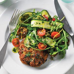 Chicken burger + summer salad