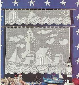 Free Filet Crochet Curtain Patterns | Filet Crochet Pattern Lighthouse Valance Curtain Nautical Scene | eBay