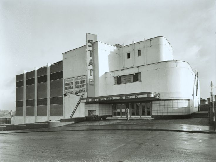 The State Cinema in Castlemilk Road in King's Park was designed by Charles J McNair & Elder for Cathcart Picture Playhouse Ltd. At its opening in 1937 it was regarded as state of the art in cinema design, its streamlined facade outlined by red and blue neon strips at night. The State was renamed the County in 1971 and became a bingo hall in the following year.