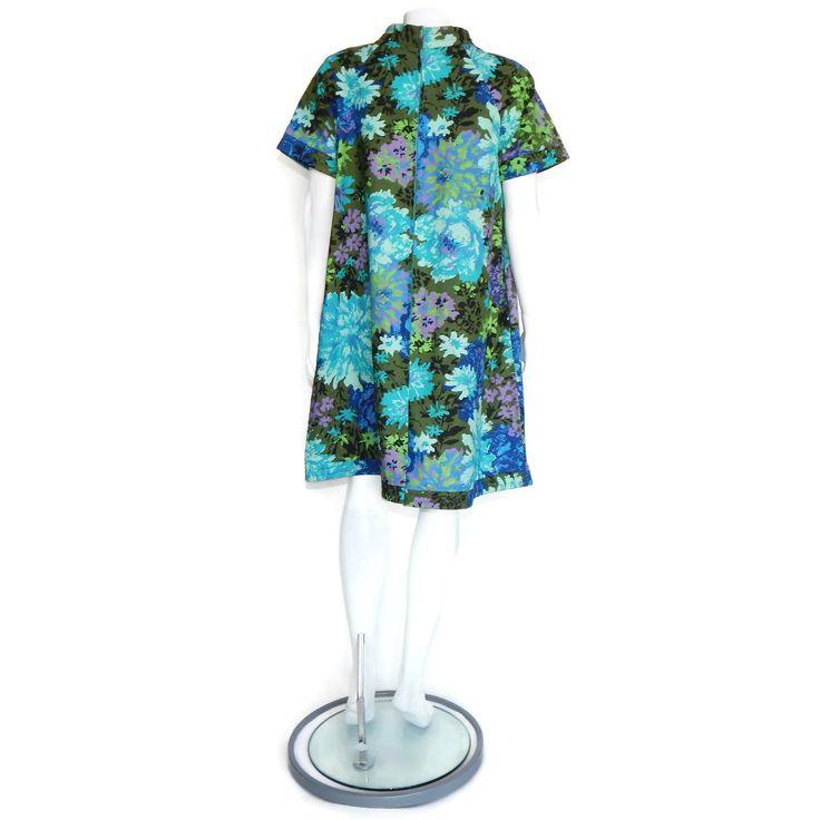 Loungees Vintage 1960s Mod Hippie Flower Dress Blue Green Purple Festival - M/L | eBay
