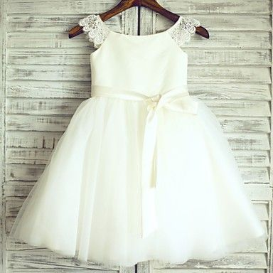 Princess Ivory Knee-length Flower Girl Dress - Lace/Tulle Cap Sleeve – Light in the Box USD $69.99