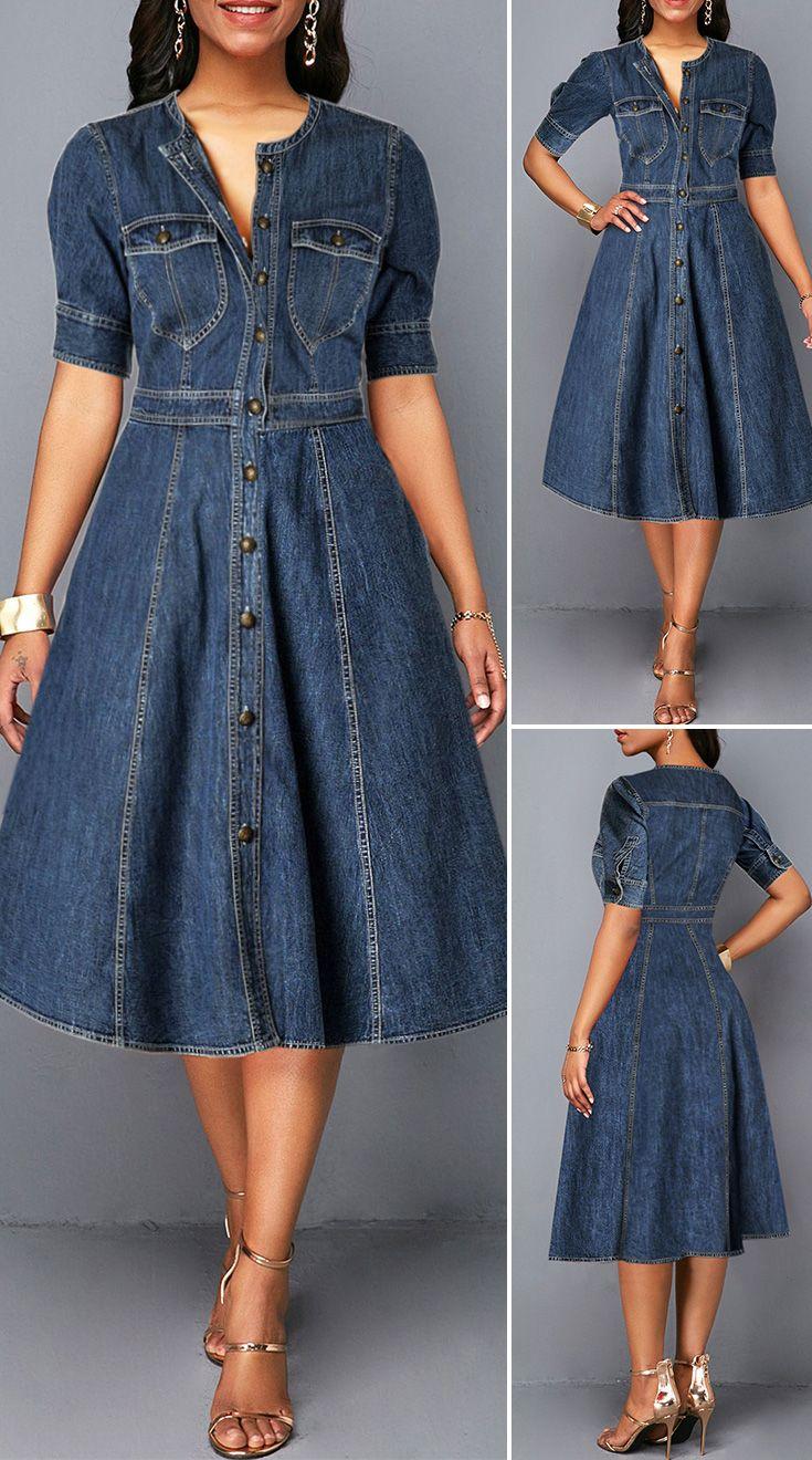 Button Up Denim Blue Pocket Shirt Dress