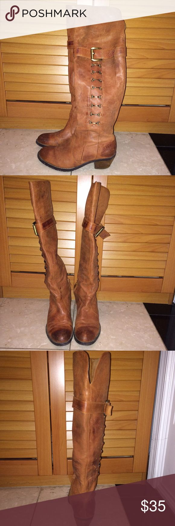 Tall tan leather boots Worn a few times Shoes Over the Knee Boots
