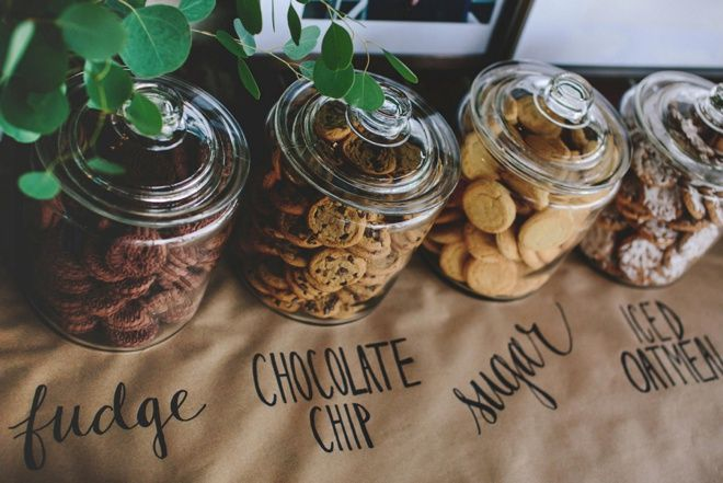 Awesome DIY idea for using a Sharpie on kraft paper for wedding table signage and decor... perfect for a cookie bar!
