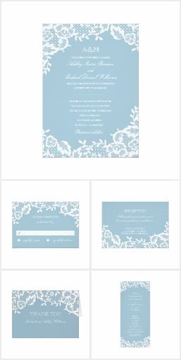 Classic Lace Wedding Invitation Collection | Powder Blue, Niagara Blue  Wedding