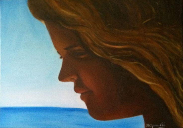 Sole nei capelli, olio su tela 70x50