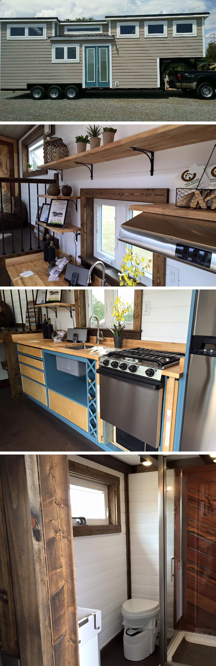 """Voted """"Best in Show"""" at the 2016 Tiny House Jamboree!  A 299 sq.ft. gooseneck tiny house."""