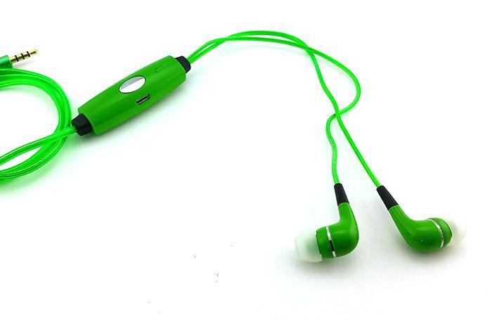 Светящиеся наушники Glow с EL свечением (зеленые)